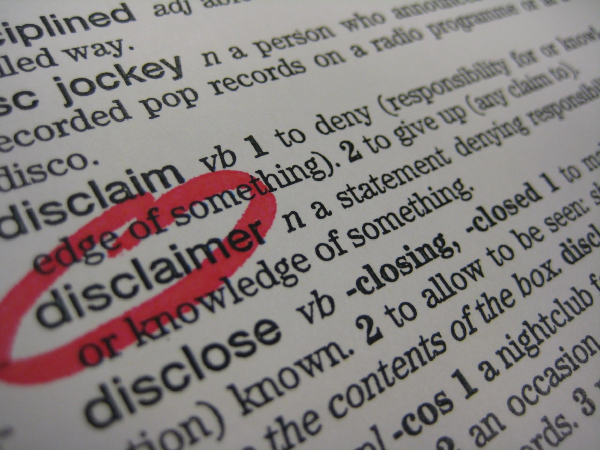 """picture of dictionary definition of """"disclaimer"""""""