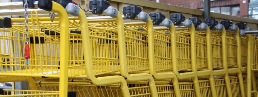 shopping carts in locked carousel