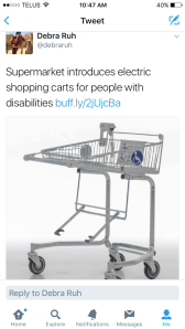 Electric shopping cart that can be attached to front of wheel chair