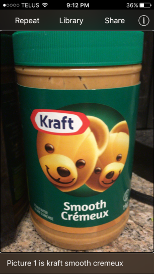 Picture of Kraft Peanut Butter, with description from app and voiceover stating as such