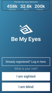 Be my eyes app front page